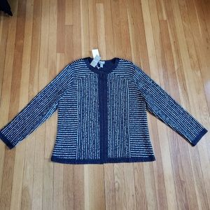 Chico's Crushed Stripe Jacket, India Ink,  XL